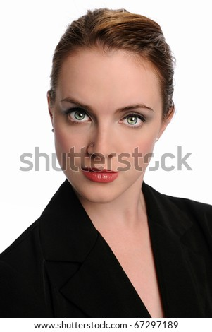 Portrait of woman in business suit isolated over white background