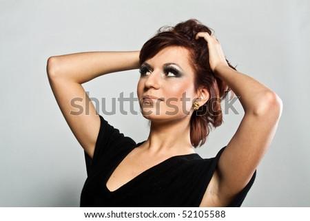 Portrait of woman in retro style #52105588