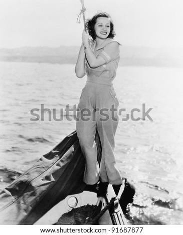 portrait of woman on boat