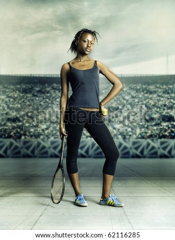 Portrait of woman playing tennis