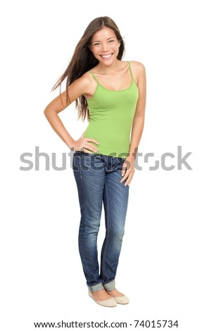 Portrait of woman standing isolated. Beautiful, casual sexy and fresh young mixed race Asian Caucasian female model standing isolated on white background in full body.