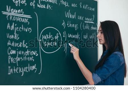 Portrait of woman teacher writing on blackboard in classroom