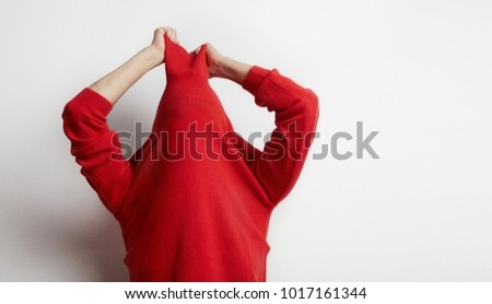 Portrait of woman wearing a red sweater stressed because work isolated on white background. Businessman concept - Shutterstock ID 1017161344