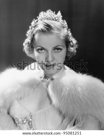 Portrait of woman wearing tiara