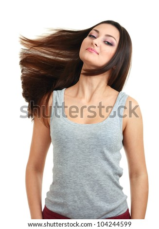 portrait of woman with beautiful hair on a white background.fly hair