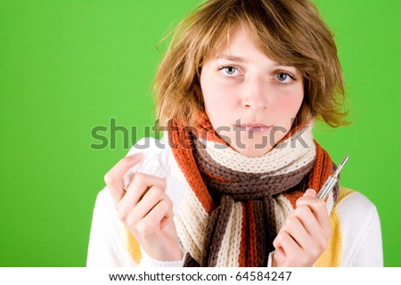 portrait of woman with handkerchief and thermometer on green background