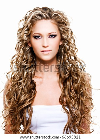 Portrait of woman with long  beautiful hair
