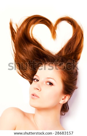 portrait of woman with long hair in shape of heart