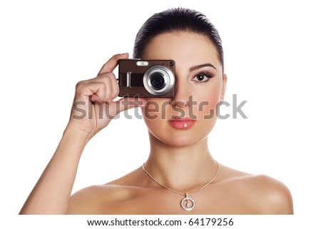 Portrait of woman with photo camera - stock photo