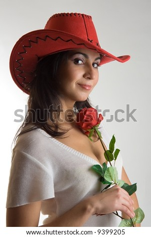 portrait of woman with rose