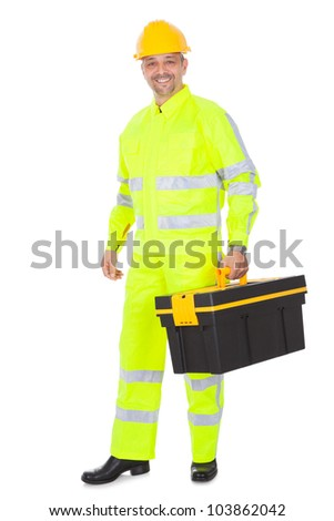 Portrait of worker wearing safety jacket and helmet. Isolated on white