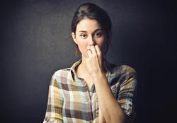 portrait of worried woman
