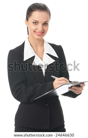 Portrait of writing businesswoman, isolated on white