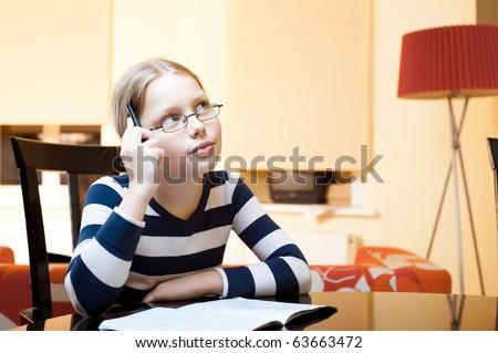 Portrait of 9-10 years old schoolgirl