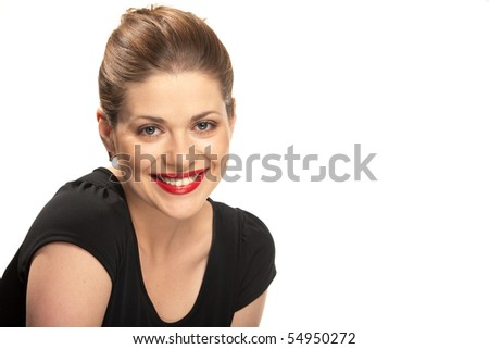 Portrait of yong beautiful woman with red lips [isolated over white, cut out]