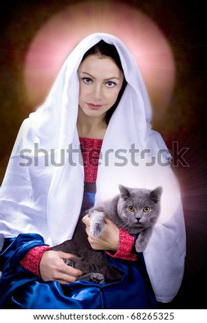 portrait of young a woman as Madonna with a cat