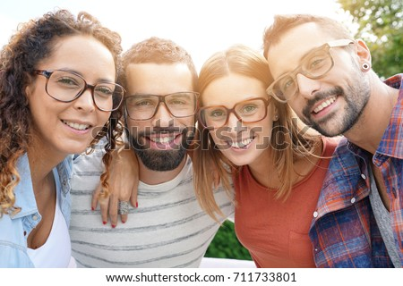 Portrait of young adults with eyeglasses