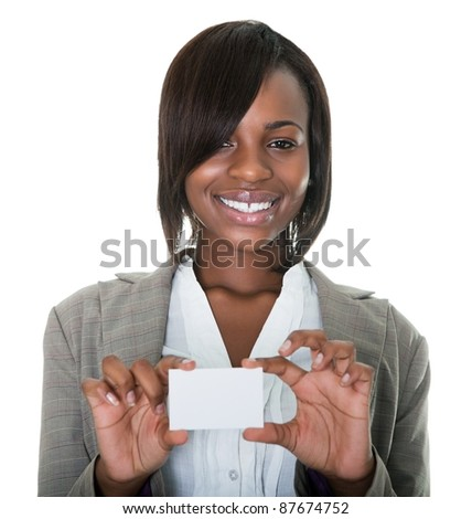 Portrait of young African American businesswoman holding blank card on white background.