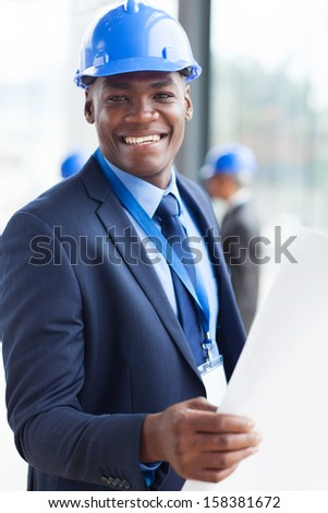 portrait of young african american construction manager