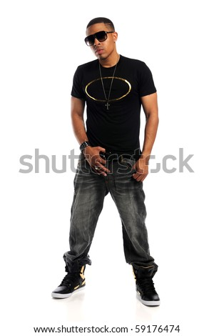 Portrait of young African American hip hop man standing isolated over white background