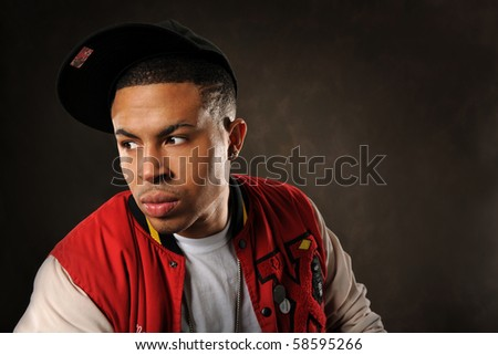 Portrait of young African American wearing baseball hat