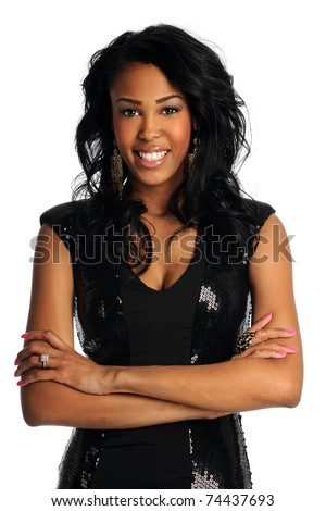 Portrait of young African American woman smiling isolated over white background