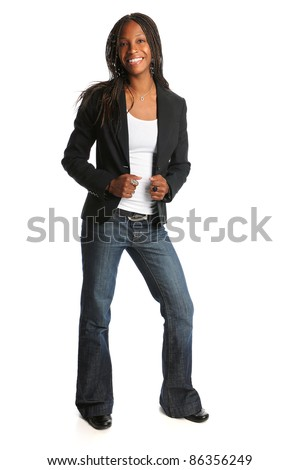 Portrait of young African American woman standing isolated over white background