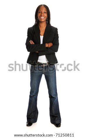 Portrait of young African American woman standing with arms crossed isolated over white background