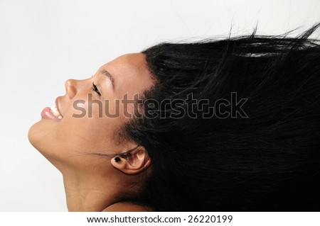 Portrait of young african american woman with long hair - isolated