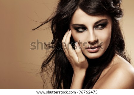 Portrait of young and beautiful brunette #96762475