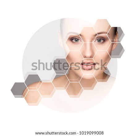 Portrait of young and beautiful woman. Skin care, beauty and face lifting concept.