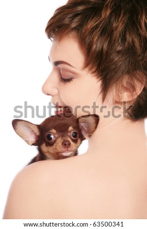 Portrait of young attractive happy smiling woman with puppy chihuahua, on white background