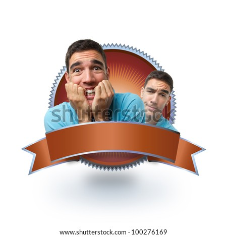 Portrait of young attractive man with frightened face over red label. Ready to use with different products