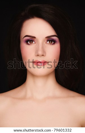 Portrait of young attractive woman with stylish make-up