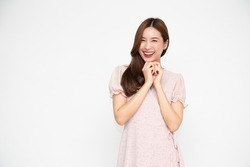 Portrait of Young beautiful Asian businesswoman standing and smiling isolated on white background, Looking at camera