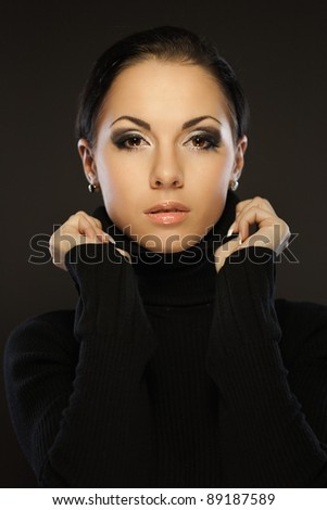 Portrait of young beautiful brunette