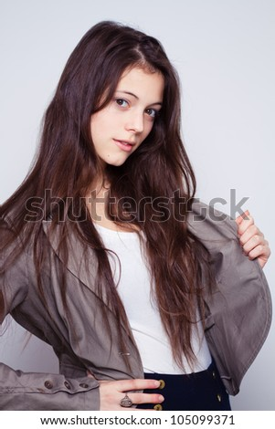portrait of young beautiful fashion woman with long hair