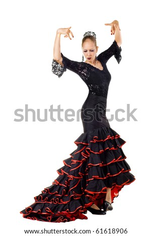 Portrait of young beautiful flamenco dancer. Isolated over white background
