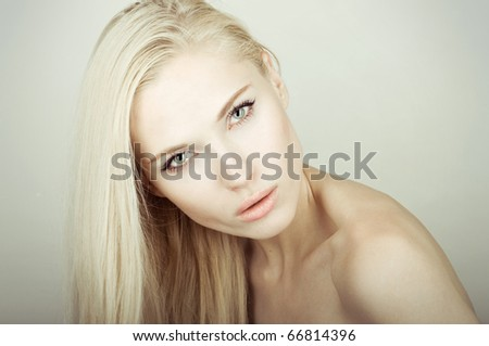 portrait of young beautiful girl face - stock photo
