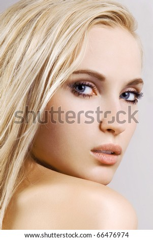 portrait of young beautiful girl face. perfect skin