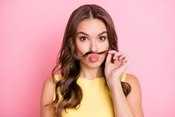 Portrait of young beautiful pretty sweet attractive girl pout lips with fake mustache isolated on pink color background