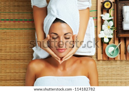 portrait of young beautiful woman in spa environment #114182782
