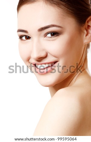 portrait of young beautiful woman isolated on white background.