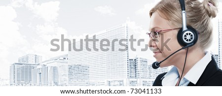 Portrait of young beautiful woman on big city  back