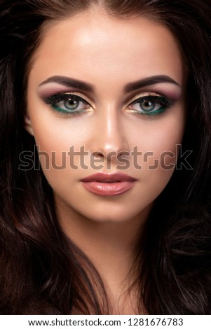 Beautiful Makeup Female Model With Black Eyeliner And Red Lipstick