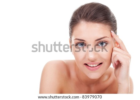 Portrait of young beauty woman thinking isolated on white background