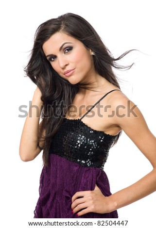 Portrait of young beauty woman touch her hair and looking at camera - stock photo
