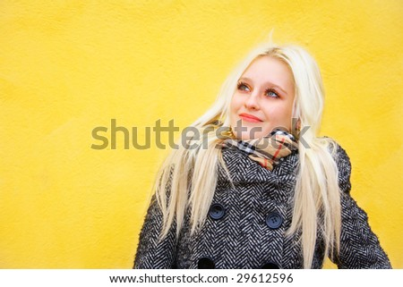 Portrait of young blonde woman