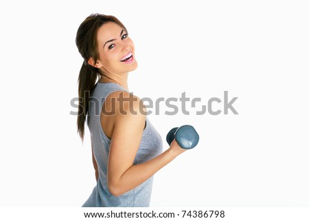 portrait of young brunette fitness woman