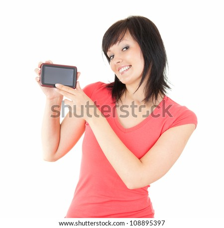 portrait of young brunette woman with mobile phone, white background